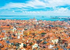 Beautiful panoramic landscape of San Marco. Famous district with many landmarks in Venice, Italy Royalty Free Stock Photography