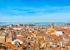 Beautiful panoramic landscape of San Marco. Famous district with many landmarks in Venice, Italy Royalty Free Stock Images