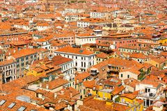 Beautiful panoramic landscape of San Marco. Famous district with many landmarks in Venice, Italy Royalty Free Stock Photos