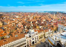 Beautiful panoramic landscape of San Marco. Famous district with many landmarks in Venice. The Clock Tower on the Piazza San Marco Royalty Free Stock Photos