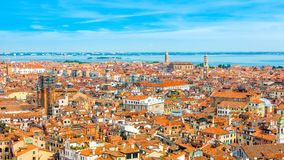Beautiful panoramic landscape of San Marco. Famous district with many landmarks in Venice, Italy Stock Images