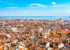 Beautiful panoramic landscape of San Marco. Famous district with many landmarks in Venice, Italy Royalty Free Stock Photo