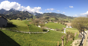 Beautiful panoramic landscape in Switzerland, Gruyeres Stock Photo