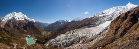 Beautiful panoramic landscapes of Himalaya mountains along Manaslu circuit track in Nepal royalty free stock image