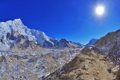 Beautiful panoramic mountain view of Everest Region royalty free stock photography