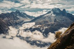Beautiful panoramic nature in the mountains. stock photo