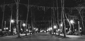 Beautiful panoramic photo of Alley of Classics in Chisinau, Moldova.  stock photos