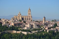 Beautiful Panoramic Photo Of The Center Of Segovia With Its Wall And Majestic Cathedral In Segovia. Architecture, Travel, History. royalty free stock photography