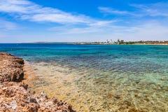 Beautiful panoramic sea view on Ayia Napa near of Cavo Greco, Cyprus island, Mediterranean Sea. Amazing blue green sea and sunny. Day stock image