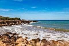 Beautiful panoramic sea view on Ayia Napa near of Cavo Greco, Cyprus island, Mediterranean Sea. Amazing blue green sea and sunny. Day stock photography