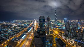Beautiful panoramic skyline of Dubai night timelapse, United Arab Emirates. View of world famous skyscrapers. stock video