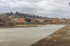 Beautiful panoramic view of the Arno River and the town of Renaissance. Firenze. Florence in Italy royalty free stock photo