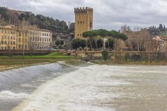 Beautiful panoramic view of the Arno River and the town of Renaissance. Firenze. Florence in Italy stock photos