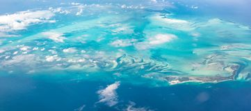 Beautiful Panoramic view of Bahamas islands from above Royalty Free Stock Image