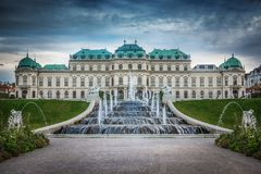 Belvedere Palace and fountains, Vienna, Austria. Beautiful panoramic view of the Belvedere Palace and fountains, Vienna, Austria Royalty Free Stock Photo