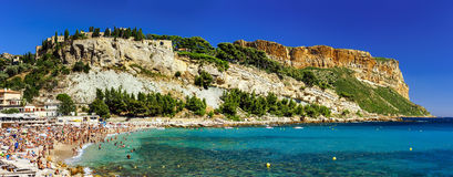 Beautiful panoramic view of Cassis beach with fortress on the ro Royalty Free Stock Images