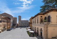 Beautiful panoramic view of the central town square of the ancient town of Todi (Piazza del Popolo) Umbria, Italy. Beautiful panoramic view of the central town royalty free stock image