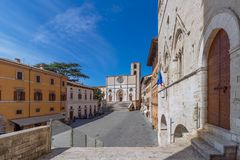 Beautiful panoramic view of the central town square and The Goth. Ic cathedral of Santa Maria Assunta of the ancient town of Todi Piazza del Popolo Umbria, Italy stock image