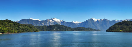 Beautiful panoramic view of Chilean fjords. Royalty Free Stock Photos