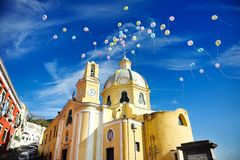 Beautiful panoramic view  church of Procida Stock Images