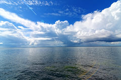Beautiful panoramic view of clouds. Over Gdansk Bay, Baltic Sea Europe royalty free stock images