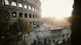 Beautiful panoramic view of the Colosseum in Rome, Italy. Sunset landscape with historical building. Stop motion. stock video