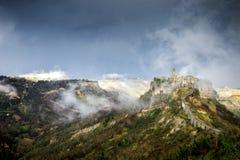 Beautiful panoramic view of famous Civita di Bagnoregio with Tiber river valley, Lazio, Italy stock photography