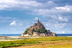 Beautiful panoramic view of famous Le Mont Saint-Michel tidal is Royalty Free Stock Images