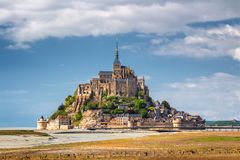Beautiful panoramic view of famous Le Mont Saint-Michel tidal is Royalty Free Stock Photo