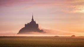 Beautiful panoramic view of famous Le Mont Saint-Michel tidal is Stock Images