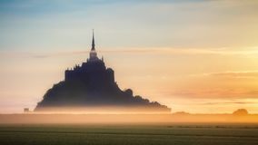 Beautiful panoramic view of famous Le Mont Saint-Michel tidal is Royalty Free Stock Image