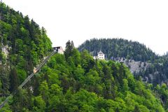Beautiful panoramic view of the funicular and Rudolfsturm in the summer in Hallstatt, Austria. royalty free stock photo