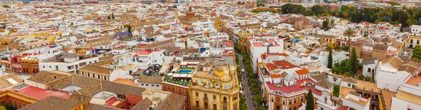 Panorama of the city of Seville, Spain royalty free stock photography