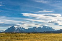 Beautiful panoramic view of golden yellow grass with background of nature cuernos mountains peak with cloud in autumn, Torres del. Paine national park, south royalty free stock photo