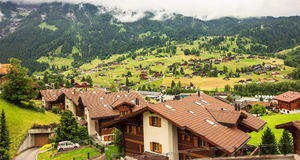 Beautiful Panoramic View of Grindelwald scenery and landscape, Bern Canton, Switzerland, Europe Stock Photos