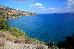 Beautiful panoramic view from the height .  Hilly relief, beach and coastline of mediterranean sea. Stock Photo