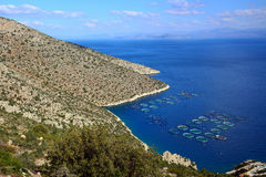 Beautiful panoramic view from the height .  Hilly relief, beach and coastline of mediterranean sea. Stock Images