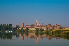 Beautiful panoramic view of the historic city of Mantua in Lombardy Royalty Free Stock Image
