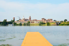 Beautiful panoramic view of the historic city of Mantua from the quay on the river Mincio, Mantua, Lombardy, Italy.  Stock Photography