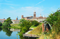 Beautiful panoramic view of the historic city of Mantua with the river Mincio, Lombardy, Italy Stock Photos