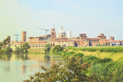 Beautiful panoramic view of the historic city of Mantua with the river Mincio, Lombardy, Italy.  Stock Photo