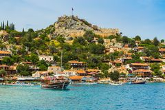 Beautiful panoramic view on island Kekova and the castle Simena Stock Photo