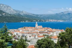 Beautiful, panoramic view of Korcula old town in Croatia. Balkan peninsula, Europe stock photos
