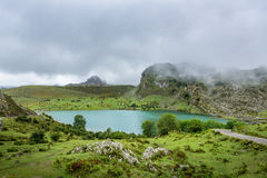 Beautiful panoramic view of Lake Enol, Asturias Spain royalty free stock image
