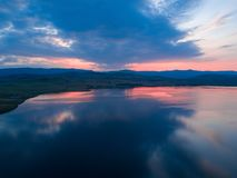 Beautiful panoramic view of the Lake on the sunset and hills on stock photo