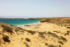 Beautiful panoramic view of Lanzarote beaches and sand dunes in Playas de Papagayo, Costa del Rubicon, Canary Islands stock photo