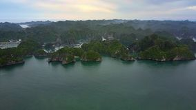 Beautiful Panoramic View Large Tranquil Ocean Bay. Famous asian national park UNESCO heritage stock video footage