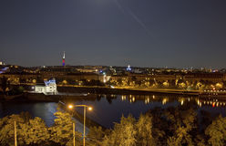 Beautiful panoramic view from Letna park at the Prague cityscape at night Stock Image