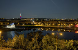 Beautiful panoramic view from Letna park at the Prague cityscape at night Royalty Free Stock Photography