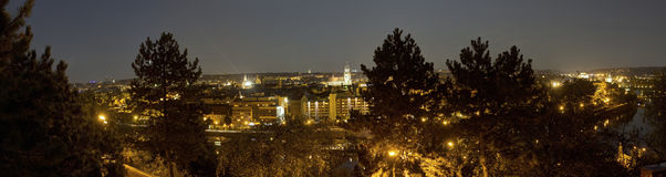 Beautiful panoramic view from Letna park at the Prague cityscape at night Stock Photos